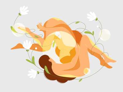 Imponderabilitate design 2d mirror stroke illustration dreams interaction body naked vector cosmos sleep bubble woman flowers girls gravity character