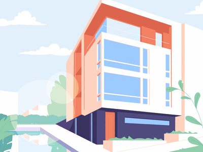 Modern Villa graphic perspective pool window tower town city village motion vector artwork illustration building house minimalism villa architecture