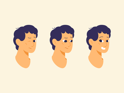 Emotions emoji design flat motion boy face emotions 2d animation cartoon character illustration