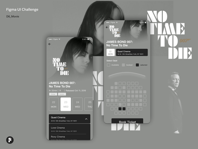 Figma UI Challenge_Day6_Contact Us no time to die app cinema black and white movie figma ui