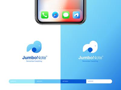 JumboNote - Logo & App Icon Design userinterface ux design app ui dailyui005 005 dailyui fold paper note elephant icon appicon logo