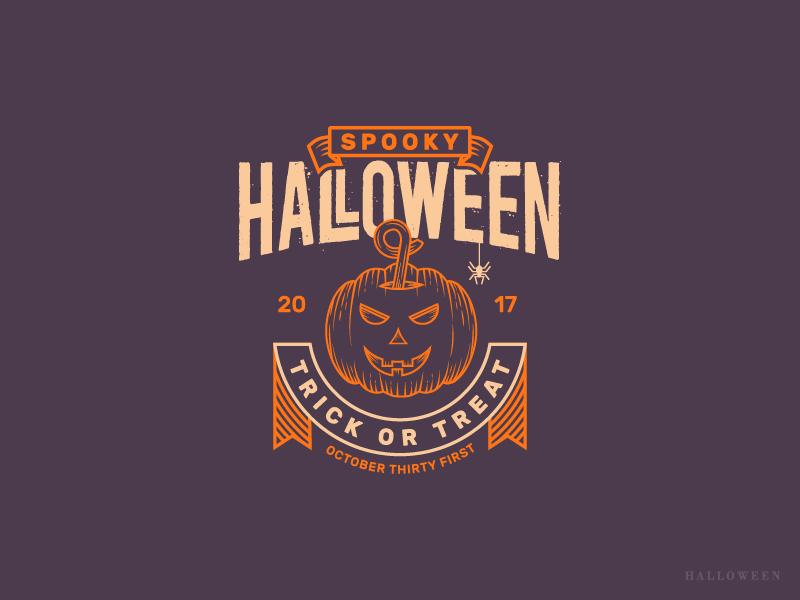 Halloween Logo Design spider horror ghost treat trick spooky 2017 pumpking logo halloween