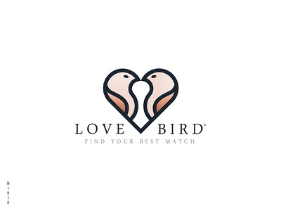 Love Birds Logo symbol shape animal bird heart logo birds love