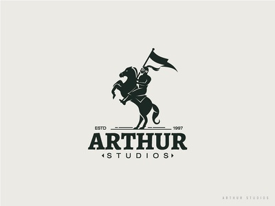Arthur Studios Logo Concept warrior horselogo flag knight horse studios logo arthur