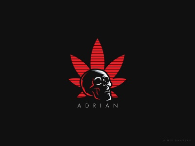 Adrian Logo vector illustration weeds brand weed art mihir adrian skull skull logo leaf logo logo