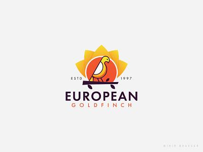 European Goldfish Logo Design birdlogo logodesign bright enimal rais sun leaf bird logo bird goldfish european