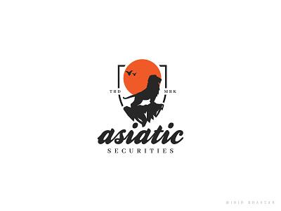 Asiatic Securities Logo classic retro animal vintage badge mihir shield birds sun logo securities lion asiatic