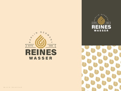 Reinse Wasser Logo pattern brand retro icon logo germany water drop