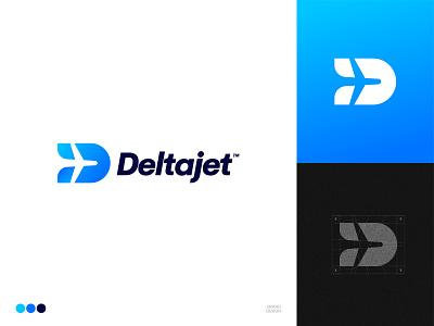 Deltajet Brand Design jet delta sky flight planelogo plane dlogo letterd d logo design logogrid branding logo aeroplane