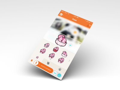 Bubbly Sticker Panel Screen for iOS7 bubbly social voice iphone ios android mobile app record orange ios7