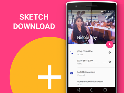 Android L Contact Page sketch3 download sketch google material design android mobile