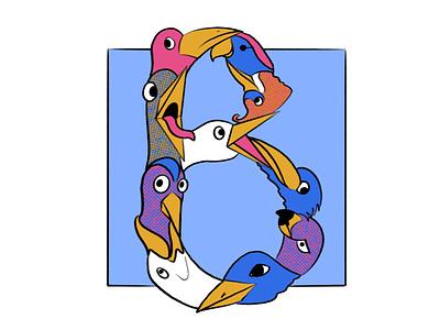 36 Days of Type: B birds illustration b drop cap 36 days of type
