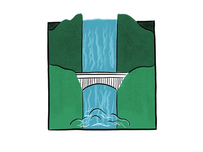 36 Days of Type: H illustration waterfall h 36 days of type