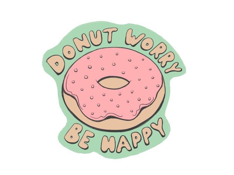 Donut Worry pun donut illustration