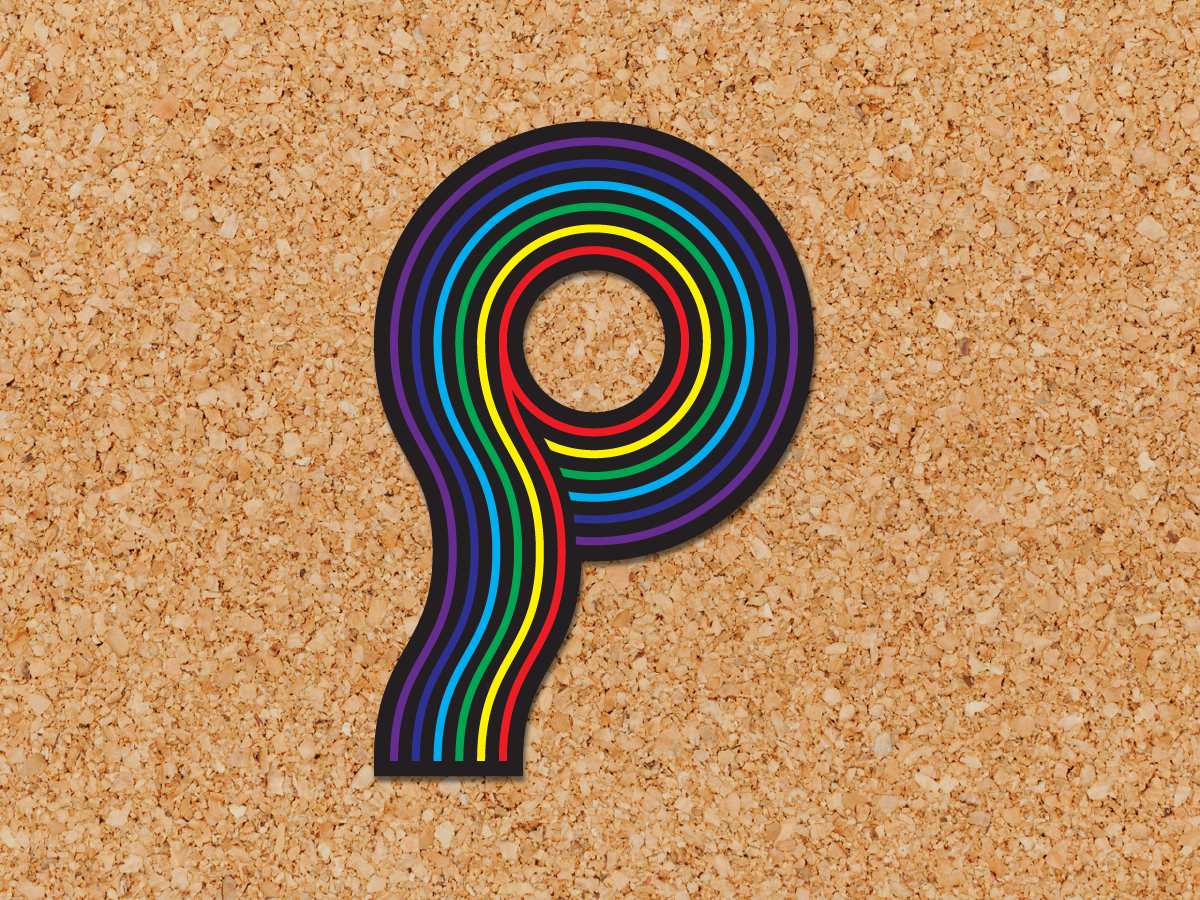 Letter P - 36 Days of Pins rainbow p drop cap typography lettering pin enamel pin 36 days of type