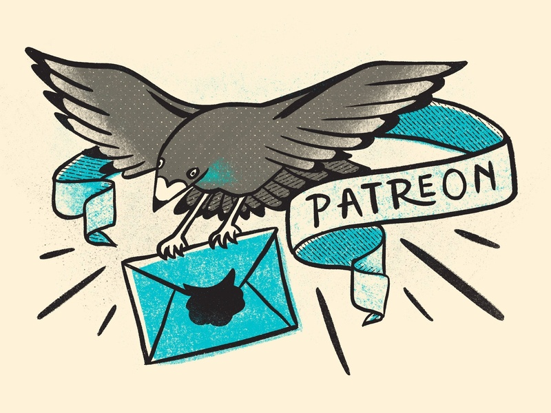 Hello, Patreon! snail mail carrier pigeon retro supply co stickers mail illustration pigeon patreon club sticker