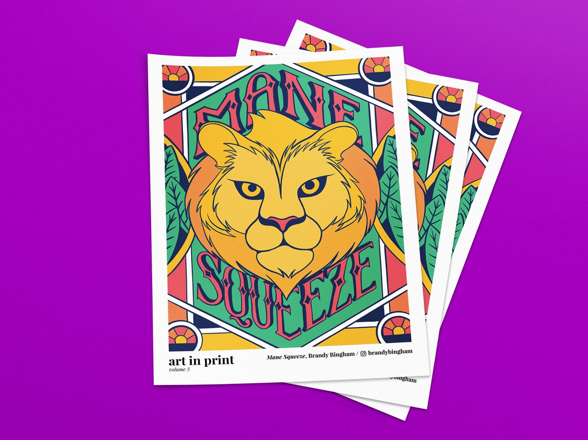 Mane Squeeze tropical newsprint newspaper lion illustration hand lettering lettering