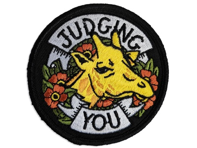 Judging You lettering embroidered patch tattoo giraffe patch illustration