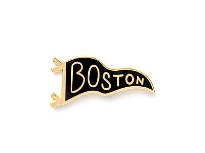 Gold Boston Pennant Pin gold boston pennant lettering pin enamel pin