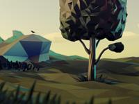 Lowpoly tree scene