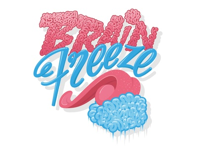 Brain Freeze poster vector artwork typography illustration