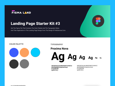 Landing page starter kit #3 freebies ui components typography figma design system ui kit design resources landing page color palette
