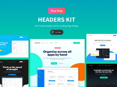 Figma UI Kit - Five Trending Hero Design For Landing Page freebies ui components figma landing page ui design resources ui kit ui landing page