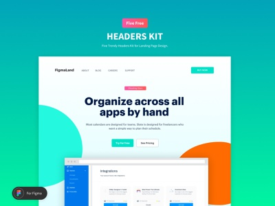 Figma UI Kit - Five headers Design For Landing Page landing page ui components ui kit figma design resources freebies