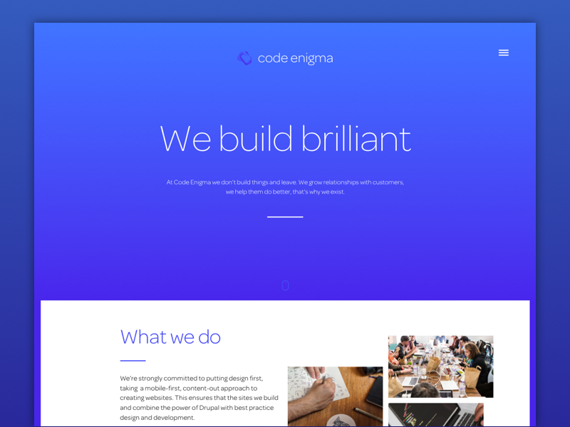 The new homepage design web blue gradients