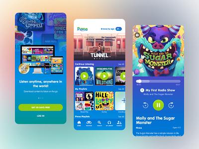 Pinna App mobile product entertainment kids ux ui design