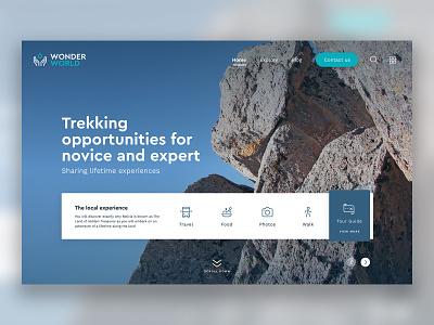 Trekking Landing Page ui mockup home landingpage trekking web design interface dailyui