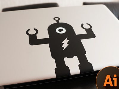 Macbook Pro Sticker Robot mackbook sticker robot freebie