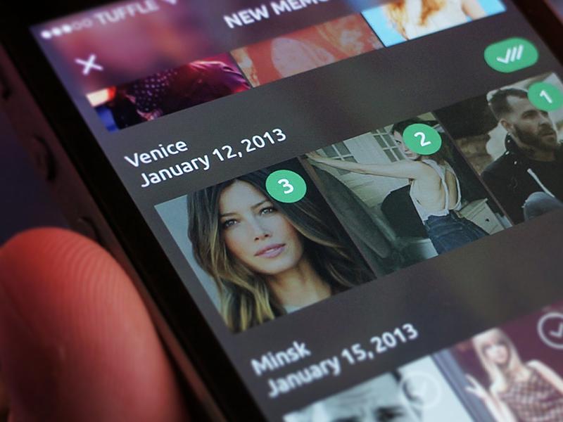 Memory creation memory ios tuffle iphone app ios 7 dark minimalistic digital