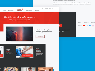 ESF Page Concepts safety electrical electricity footer header concept home page charity website
