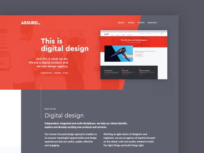Absurd services pages agency internal project process about services website