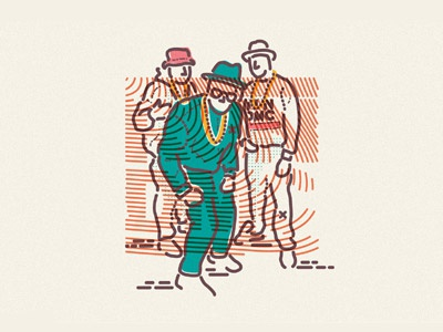 Run DMC tropicals packaging design animation 80s retro music rap hip hop advertising design illustration