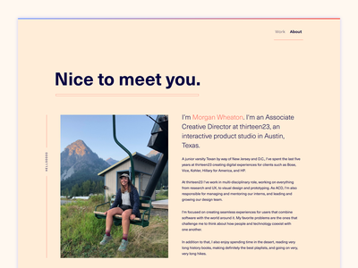 Nice to meet you portfolio page about portfolio site colors design typography web