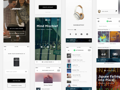 Bose App Screens ios app music player product design ui