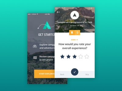 The Dyrt - iOS onboarding ratings material outdoors camping reviews ios app mobile