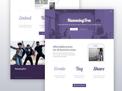 HummingTree Landing web website product app mobile purple landing