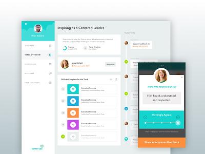 BetterUp Dashboard + Feedback slider colorful uiux courses feedback mobile timeline dashboard