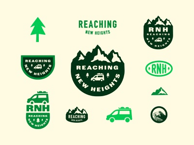 Reaching New Heights travel van life van mountains brand typography design vector logo branding illustration