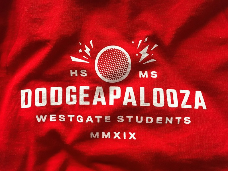 Dodgeapalooza shirt design students fun middle school highschool simple sport game dodgeball shirt