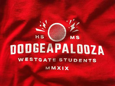 Dodgeapalooza shirt design students fun middle school highschool simple sport game dodgeball shirt