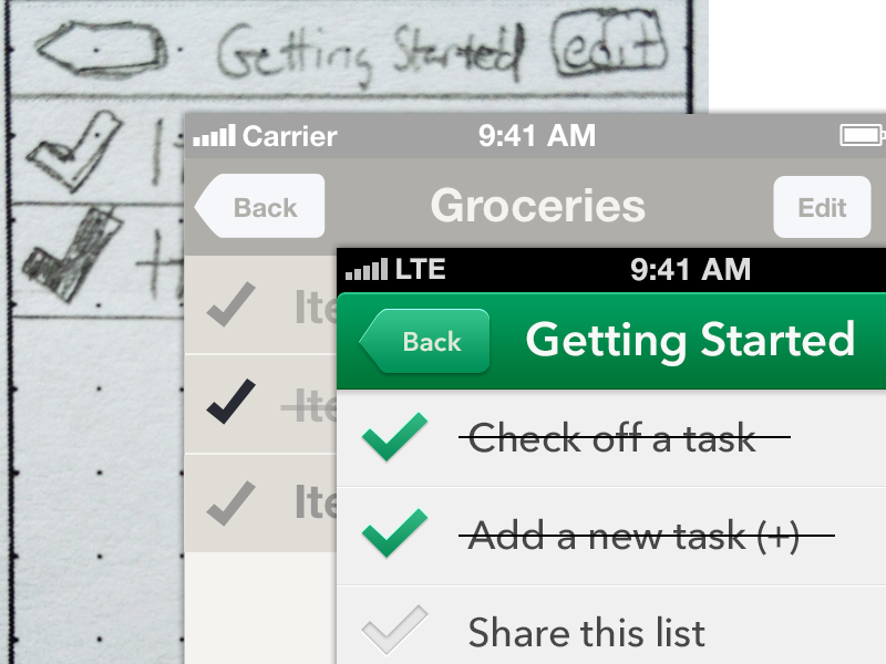 Process of Tasks ux ui process sketching wireframe ios iphone seattle ryan smith