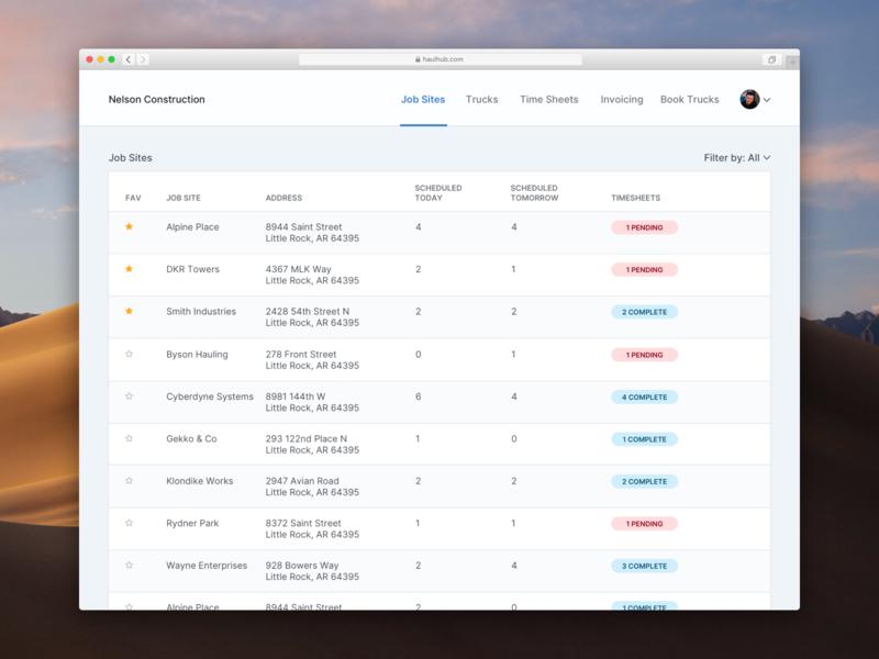 HaulHub web visual design ui dashboard website ux ryan smith