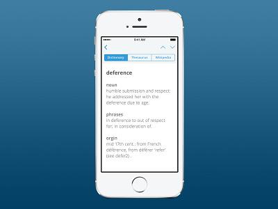 Dictionary App ios ui iphone app ux interface design user experience mobile ryan smith