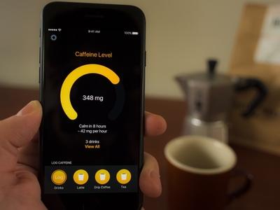 Caffeine Tracking iphone app coffee ui ux mobile ios
