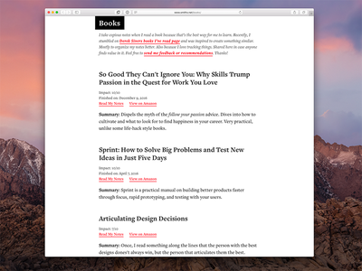Book Notes Website desktop books ui web