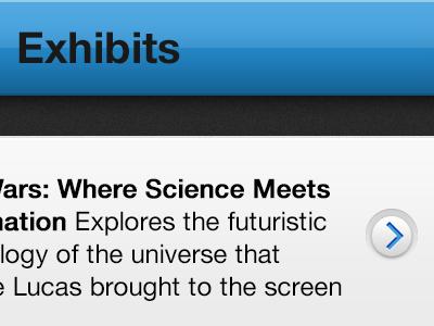 Museum App Concept ios iphone concept navbar disclosure indicator detail disclosure navigation bar
